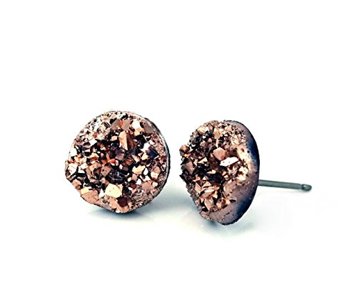 (12mm Faux Druzy Stud Earrings - Stainless Steel Posts Sensitive Ears Boho Chic Sparkly Glitter Studs (Metallic Rose))