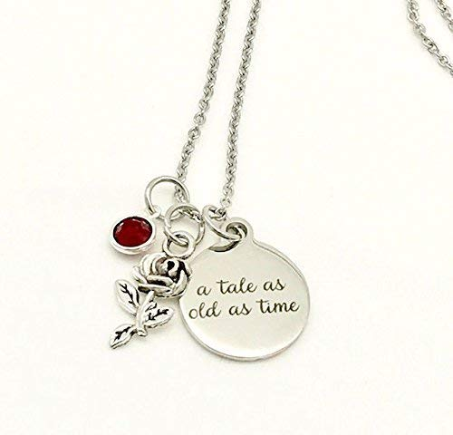 Amazon Com A Tale As Old As Time Beauty And The Beast Inspired Rose Necklace With Swarovski Crystal Handmade