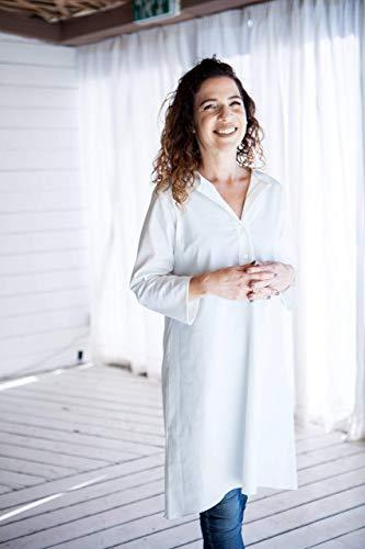 Handmade Designer Women's Oversized Spring or Fall White Cotton Tunic Dress, V Buttoned Neckline, Size 10