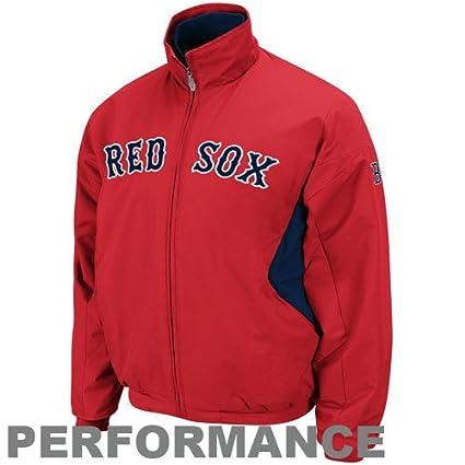 Majestic MLB Boston Red Sox Red-Navy Blue Therma Base Triple Peak Premier Full Zip