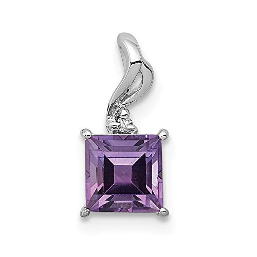 925 Sterling Silver Diamond Purple Amethyst Square Pendant Charm Necklace Gemstone Fine Jewelry Gifts For Women For Her ()