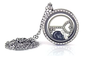 Stainless Steel Floating Locket Necklace with Choice of 4 Charms, 1 Plate, and Matching Chain