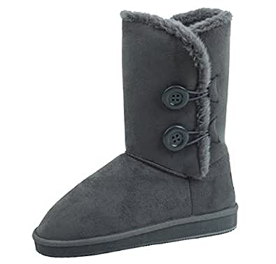 Amazon.com | Star Bay Winter Boots 2 Buttons Faux Suede