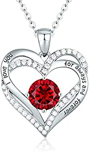 CDE Love Heart Women Necklace 925 Sterling Silver Rose Gold Plated January Birthstone Pendant Necklaces for Wo