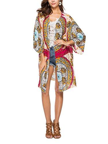 Xiang Ru カーディガン レディース 花柄 薄手 UVカット 紫外線対策 冷房対策 ゆったり ビーチ 旅行 海辺 パーティー きれいめ カジュアル 春夏 マルチ
