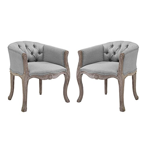 Modway EEI-3104-LGR-SET Crown Vintage French Upholstered Fabric Fully Assembled Dining Armchairs, Set of 2, Light Gray ()