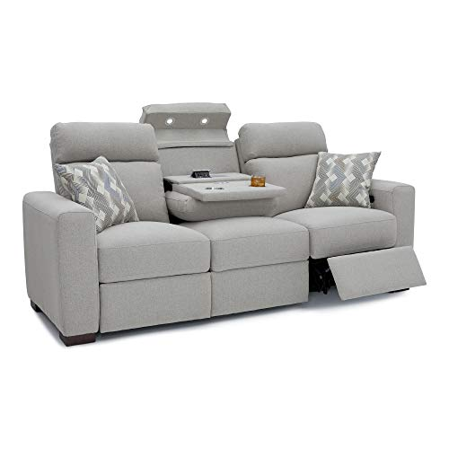 Seatcraft 4801 Capital Home Theater Seating Sofa-Performance Fabric Recline-Adjustable Powered Headrests-Fold-Down Table-AC USB Wireless Charging-Cup Holders-Pillows-Grey