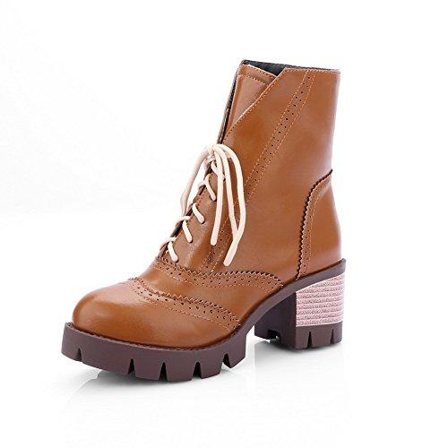 A&N Girls Bandage Chunky Heels Platform Imitated Leather Boots Yellow SRHcwL