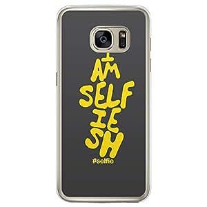 Loud Universe Samsung Galaxy S7 Edge Selfie Collection I am Selfiesh Printed Transparent Edge Case - Grey/Yellow