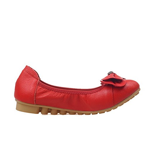 VogueZone009 Women's Pull-On Low-Heels Round-Toe PU Solid Pumps-Shoes Red pgry6N3lgl