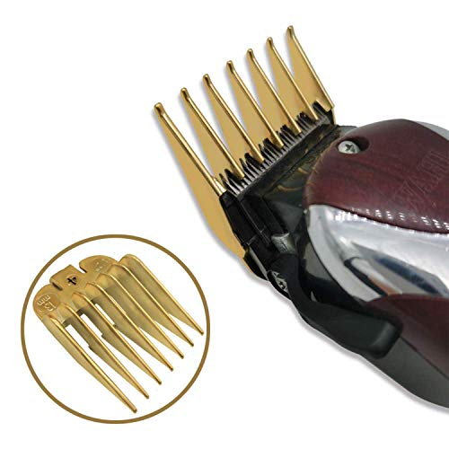 AIRERA Professional Hair Clipper Guide Combs w/Clear Rack, Replacement Guards Set, 8 Packs 8 Lengths 3mm-25mm Hair Clipper Attachment Combs for Standard Hair Clippers(ABS Plating in Gold Color)