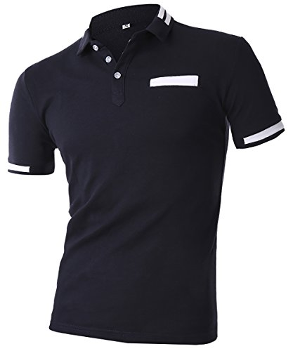 HSRKB Men Business Casual Polo T-Shirt-Navy Blue-XL by HSRKB (Image #1)