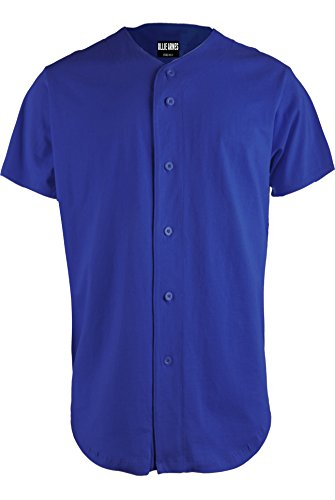 OLLIE ARNES Men's Athletic-Inspired Basic Button-Down Baseball Jersey Plain_RBLUE M