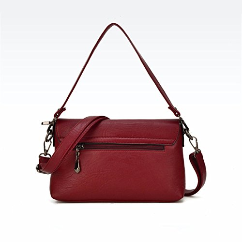 Quadrato piccolo sacchetto di mezza età della donna moda borsa tracolla Borsa messenger bag, vino rosso