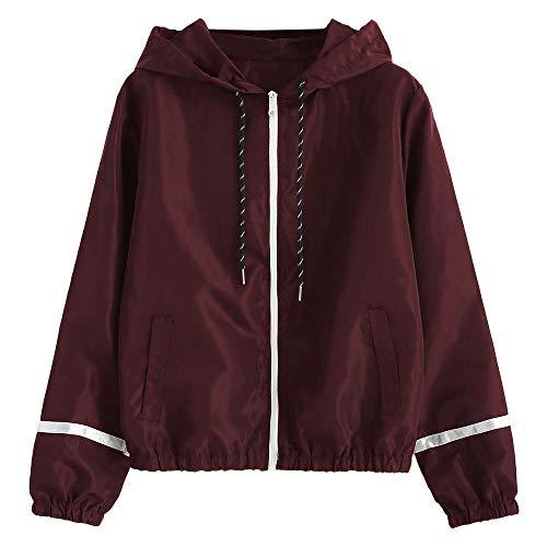 Sleeve Hooded Collar Wide Waist Two Tone Windbreaker Jacket (Y-Wine Red, L) ()
