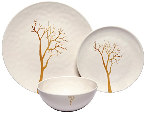 Melange 12-Piece 100% Melamine Dinnerware Set (Gold Tree Collection ) | Shatter-Proof and Chip-Resistant Melamine Plates and Bowls | Dinner Plate, Salad Plate & Soup Bowl (4 Each) ()
