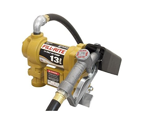 Fill-Rite SD1202G 12V DC Fuel Transfer Pump With Explosion-Proof UL/cUL Listed 1/4 HP Motor And 10 Ft. Static Wire Hose And Manual Nozzle With Suction Pipe