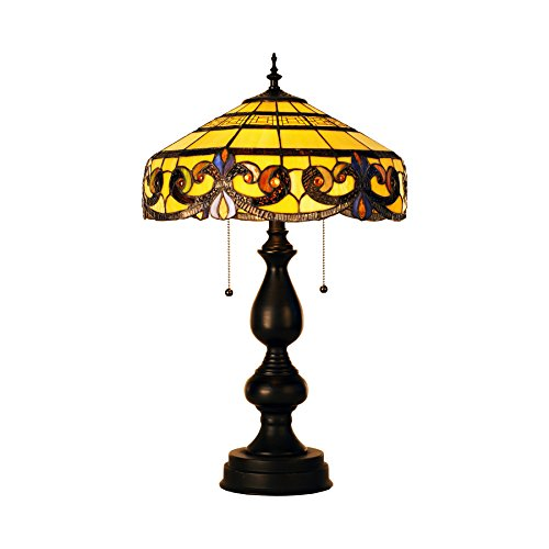 CO-Z Tiffany Style Table Lamps, 2-Light Victorian Desk Lamp with 16 Inches Stained Glass Shade, 25.5 Inches Height - Floral Stained Glass Table Lamp