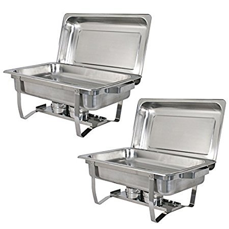 ZENY 6Pcs/ Set 8 Qt Stainless Steel Chafer Chafering Dish (6pcs/Pack)