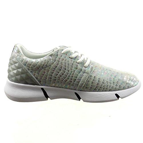 Sopily - damen Mode Schuhe Sneaker glänzende Schlangenhaut - Silber