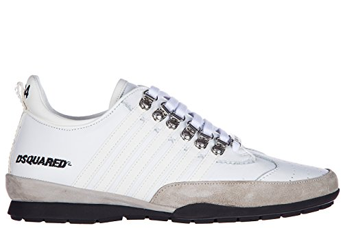 DSQUARED2 Mens Shoes Leather Trainers Sneakers 251 Calfskin rubberto White rqgHaiXPh