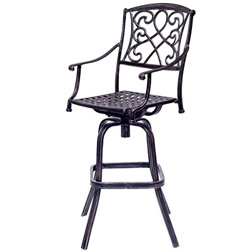 COSTWAY New Cast Aluminum Swivel Bar Stool Patio Furniture Antique Copper Design (Aluminum Outdoor Bar Stools)