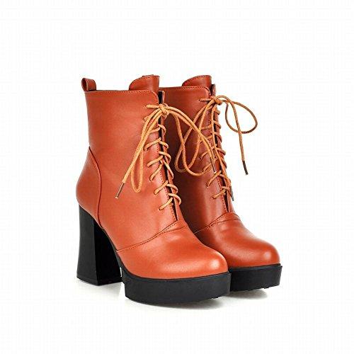 Platform Retro Short Womens Brown High Vintage Simple Heel Carolbar Yellow up Boots Fashion Lace 6Hztx16wqg