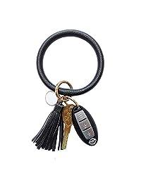 Toota Wristlet Round Big O Key Ring Chain Leather Oversized Bracelet Bangle Keychain Holder Tassel for Women Girl