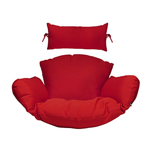 Cheap Hanging Chair Deep Seat Cushion Set included Headrest and Armrest – Outdoor Porch Backyard Patio Hammock Swing Furniture Replacement Cushions (Red)