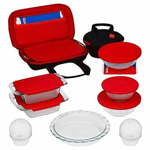 Pyrex 21 Piece Bake, Prep, Store and Transport Bakeware Set with Easy Snap Lids and Easy Grab Handles for Mess Free Transport