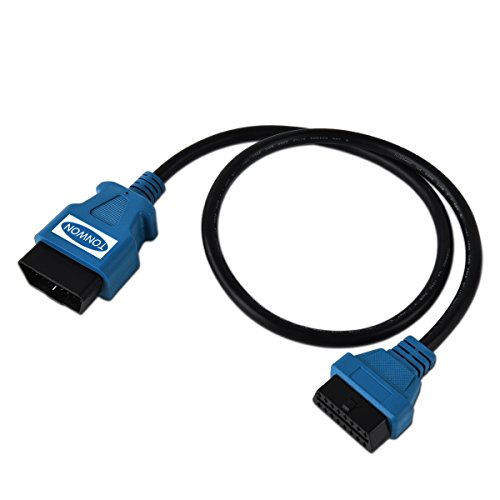 TONWON OBD2 Cable 16pin Male to Female Extension Cable Diagnostic Extender 80cm for All OBD2 Vehicles(Blue)