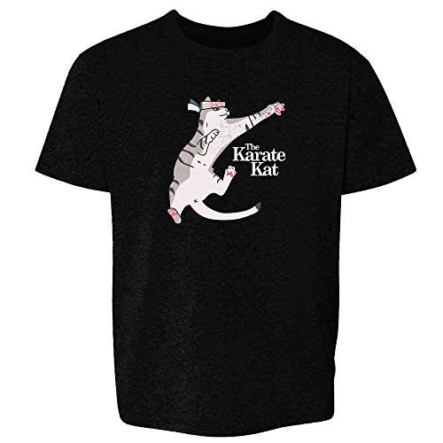 The Karate Kat Funny Cat Meme Black M Youth Kids T-Shirt