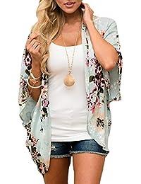 Women's Floral Print Kimono Sheer Chiffon Loose Cardigan