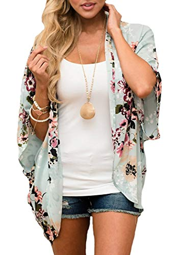 Floral Green Print (Women Floral Print Kimono Cover Up Sheer Chiffon Blouse Loose Long Cardigan Green Small)