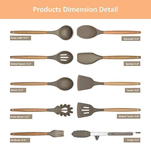 Cooking Utensils Kitchen Utensil Set Wooden Handle - 10pcs Silicone Baking Tools Spatula Set, Kitchen Serving Gadgets Non-Stick Heat Resistant for Cookware, DECLUTTR
