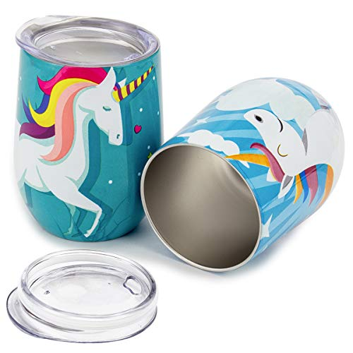 (ANPHSIN Set of 2 Unicorn Stainless Steel Wine Tumbler with Lid - Unbreakable Insulated Stemless Wine Glasses 10 OZ)