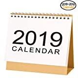 Flip Desk Monthly Calendar September 2018 to December 2019 with Stand, Twin-Wire Binding 8.3'' X 7.5''