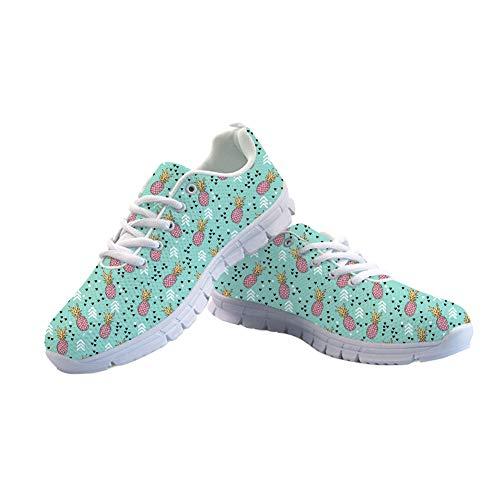 Women Shoes Walking Pineapple Sneaker Flats Showudesigns Sport 6 Running Trainers Lightweight for wqWXap7