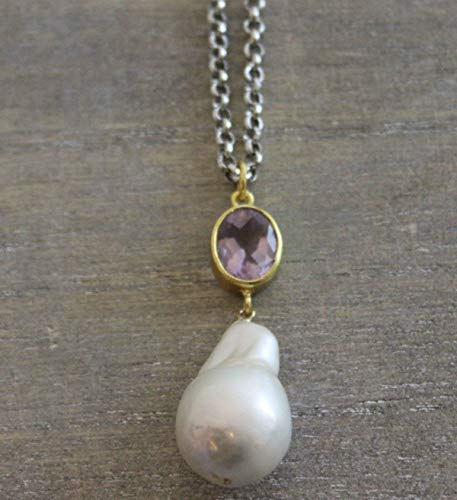 Amethyst Cultured Freshwater Baroque Pearl Oxidized Sterling Silver Necklace, 18 inches Amethyst Cultured Pearl Necklace