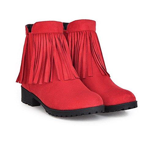 AllhqFashion Mujeres Borla Mini Tacón Puntera Redonda Sin cordones Botas Rojo