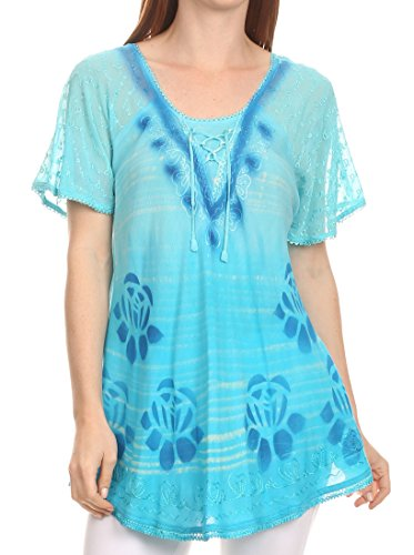 Sakkas 16789 - Reya Lace Embroidered Cap Sleeve Corset Tie Dye Blouse Top Shirt - Turq - OSP