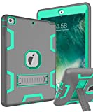 TOPSKY iPad Air Case - iPad A1474 A1475 A1476 Kids Proof Case - Heavy Duty Shockproof Rugged Armor Defender Kickstand Protective Cover Case for iPad Air Grey Green