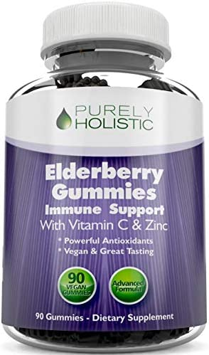 Elderberry Gummies, 90 Vegan Sambucus Elderberry Gummies with Added Vitamin C and Zinc, Immune Support Booster for Adults and Kids Non GMO, Vegetarian Gluten Free