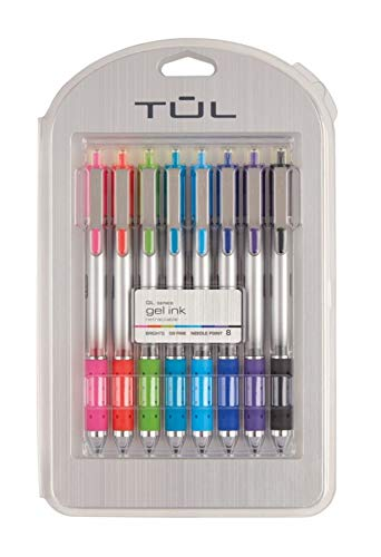 TUL Retractable Gel Pens, Needle Point, 0.5 mm, Gray Barrel, Assorted Bright Ink Colors, Pack of 8 by TUL