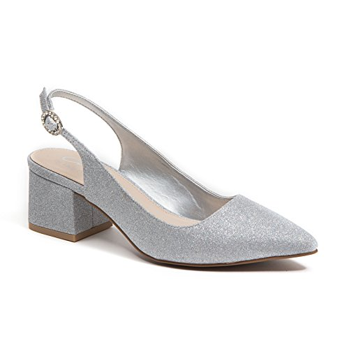 Lady Couture Mid Block Heel Dressy Glitter Sling Back Womens Shoes by, Nina Silver