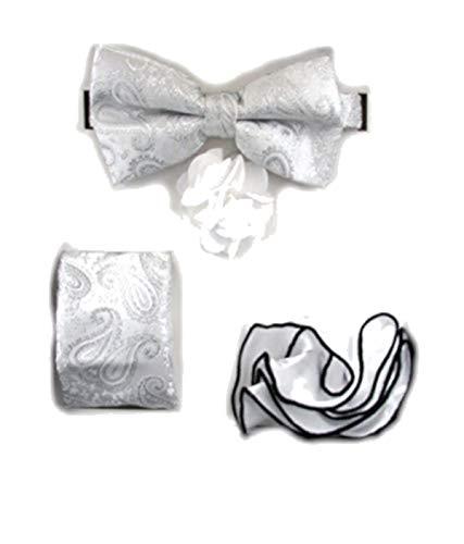 - Men's 4 PC Paisley Lame Pre-Tied Bow Tie, Two Pocket Squares & Flower Lapel Pin Set (Ivory White)