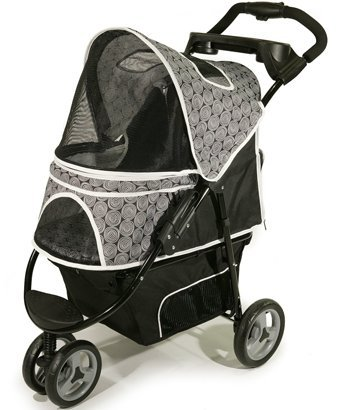Deluxe 3 Wheel Dog Stroller for Pets up to 50 Lbs – Black with Gray Accents for Large Dogs. Pet Stroller Carrier with 3 Wheels. Easy to Assemble, Folding Dog Stroller, Smooth Rolling Jogger Style and with Warranty.
