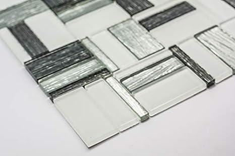 Piastrelle di vetro mosaico 30 x 30 cm bianco grigio argento effetto
