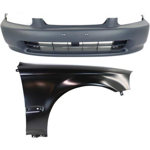 Bumper Kit Compatible with HONDA Civic 1996-1998 Set of 2 Front With Bumper Cover and Fender (Right Side)
