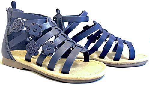 Girls Navy Sandals (carter's Flossie Girl's Flower Gladiator Sandal, Navy, 7 M US)